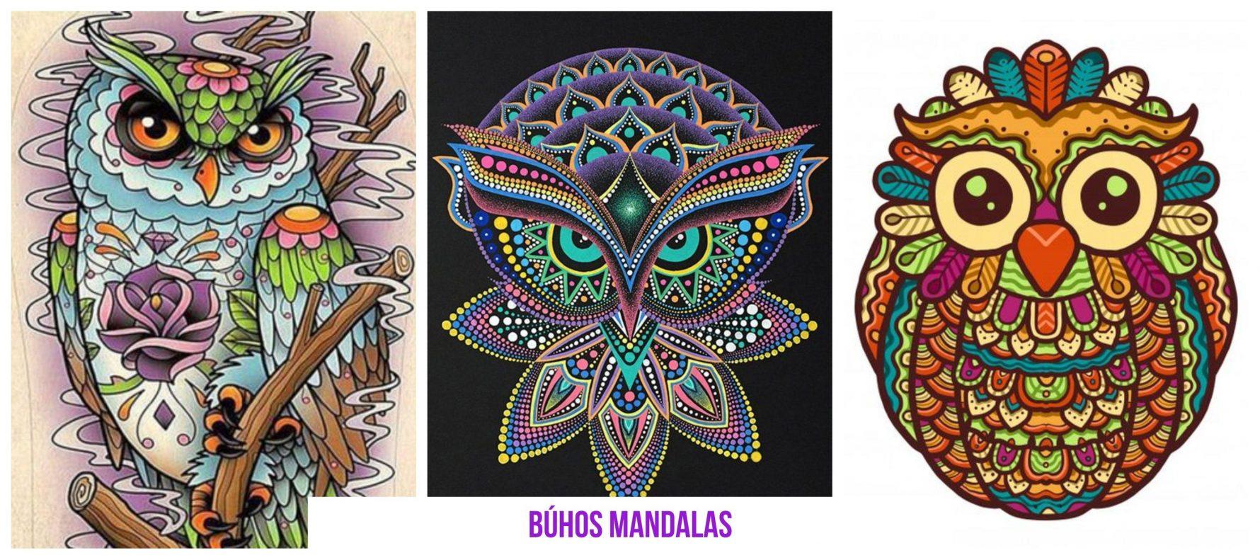Dibujos de búhos mandalas originales